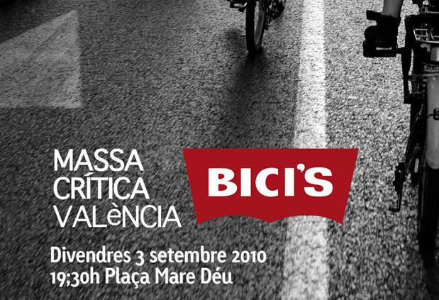 Masa crítica en Valencia el viernes 3 de septiembre a las 19:30 en la Plaza de la Virgen