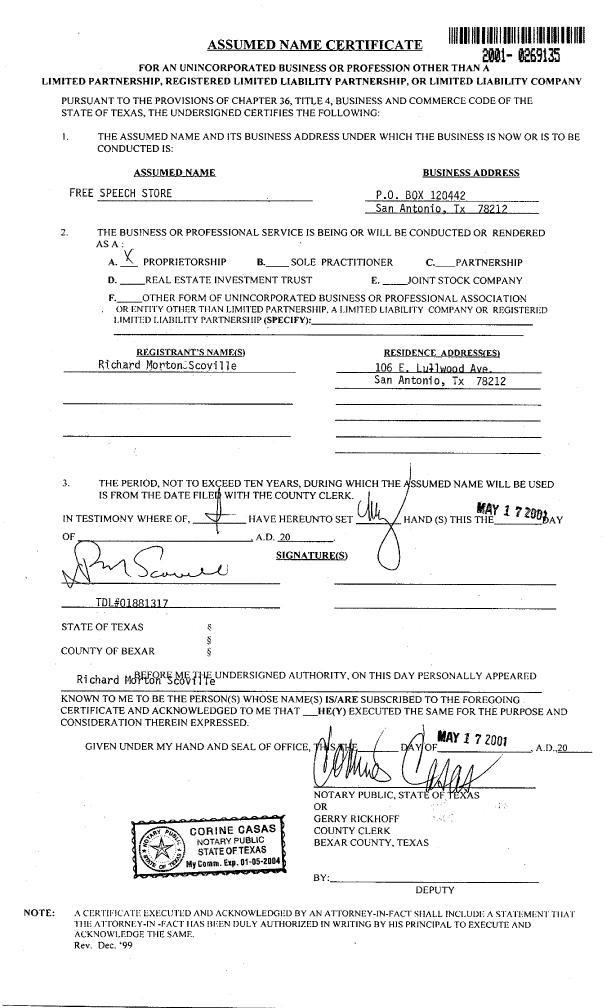 TehFreeSpeechStore™: Legal registration Bexar County, Texas