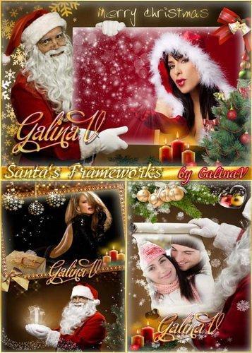 Яркие Новогодние фоторамки От Санта Клауса