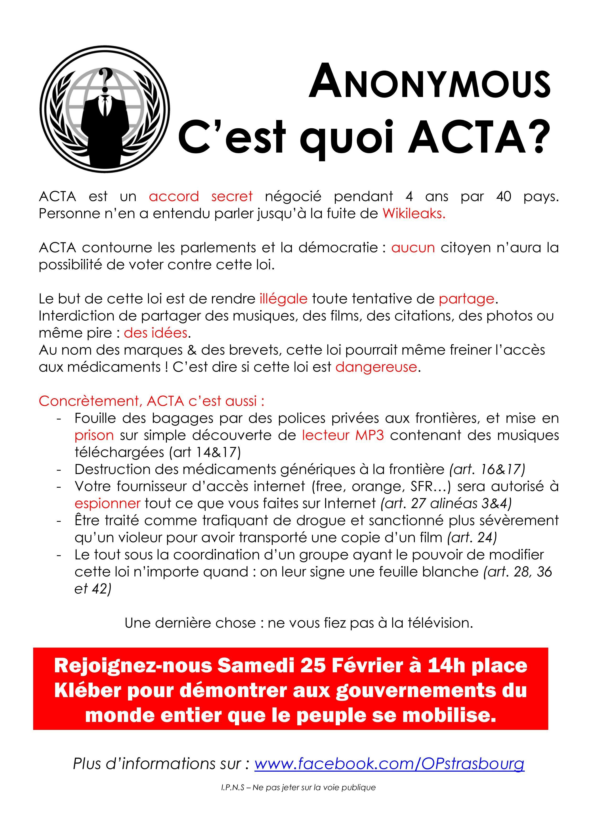 Stop ACTA !!  affiches - flyers  contre le traité #ACTA Mamdmaadl