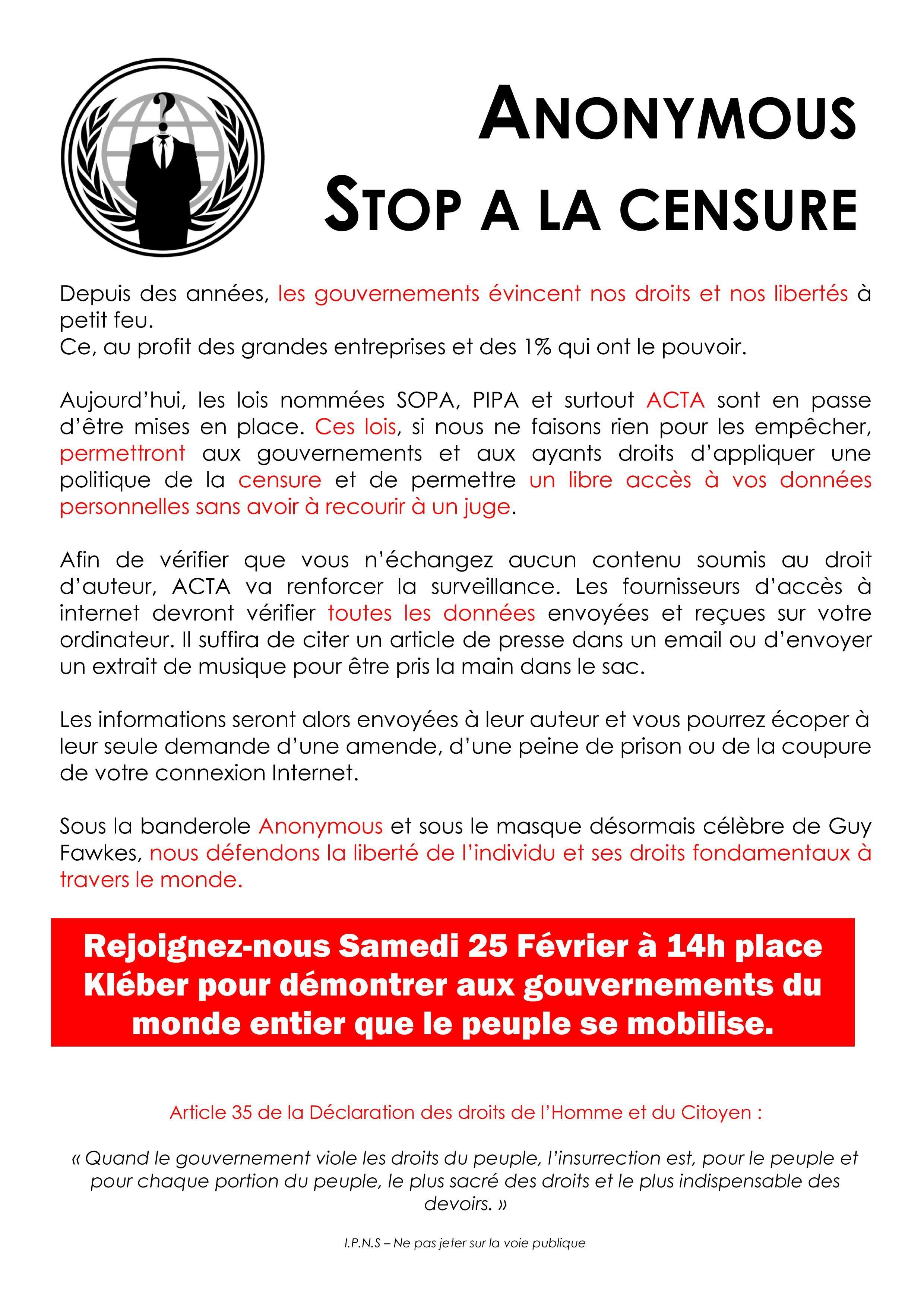 Stop ACTA !!  affiches - flyers  contre le traité #ACTA Mamdnaadl